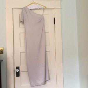 Elegant silver silk banana republic dress